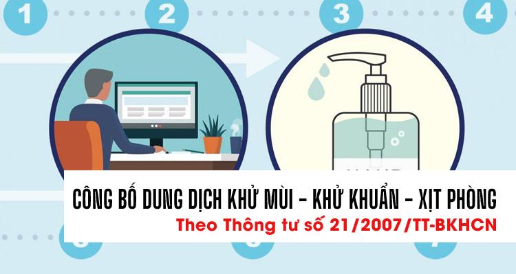 Công bố chất lượng sản phẩm dung dịch khử mùi, khử khuẩn, nước xịt phòng