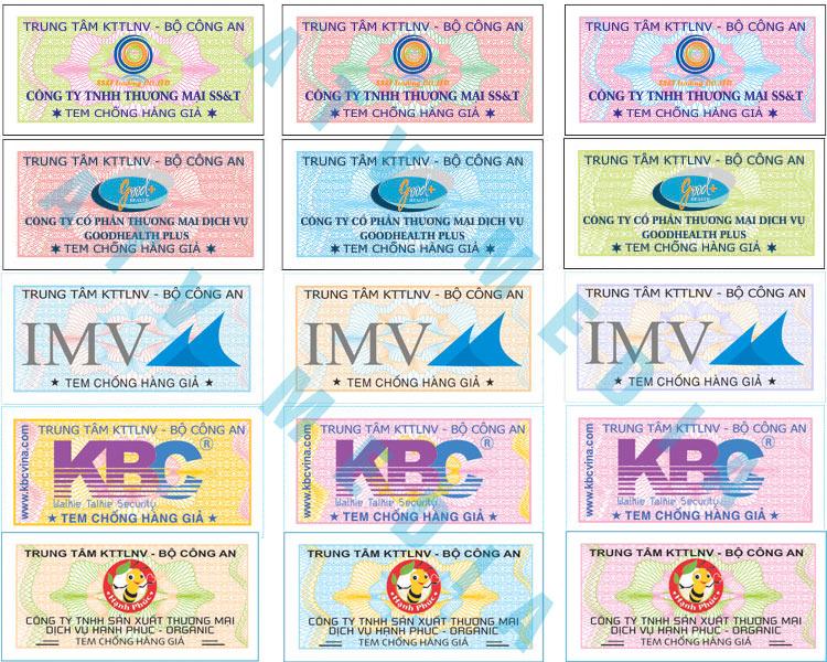 một số mẫu tem chống hàng giả ưa chuộng